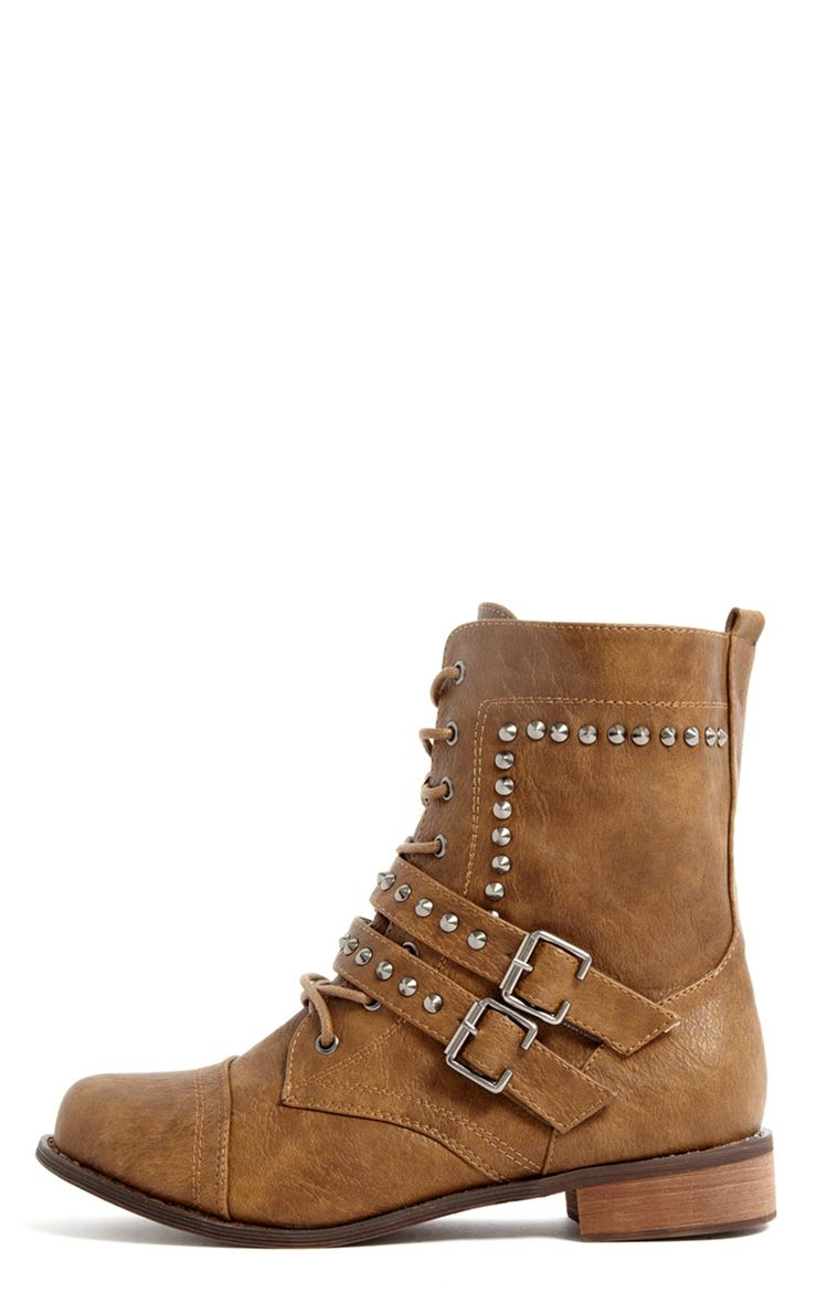 Elsa Tan Military Studded Boot 1