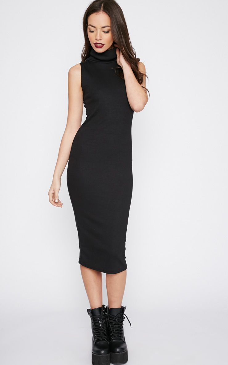 Nava Black Roll Neck Ribbed Jersey Midi Dress 1