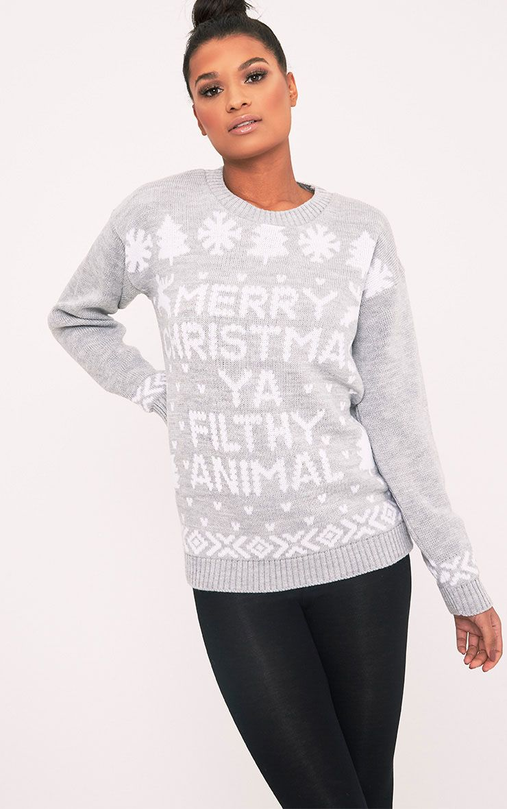 Merry Christmas Ya Filthy Animal Grey Christmas Jumper