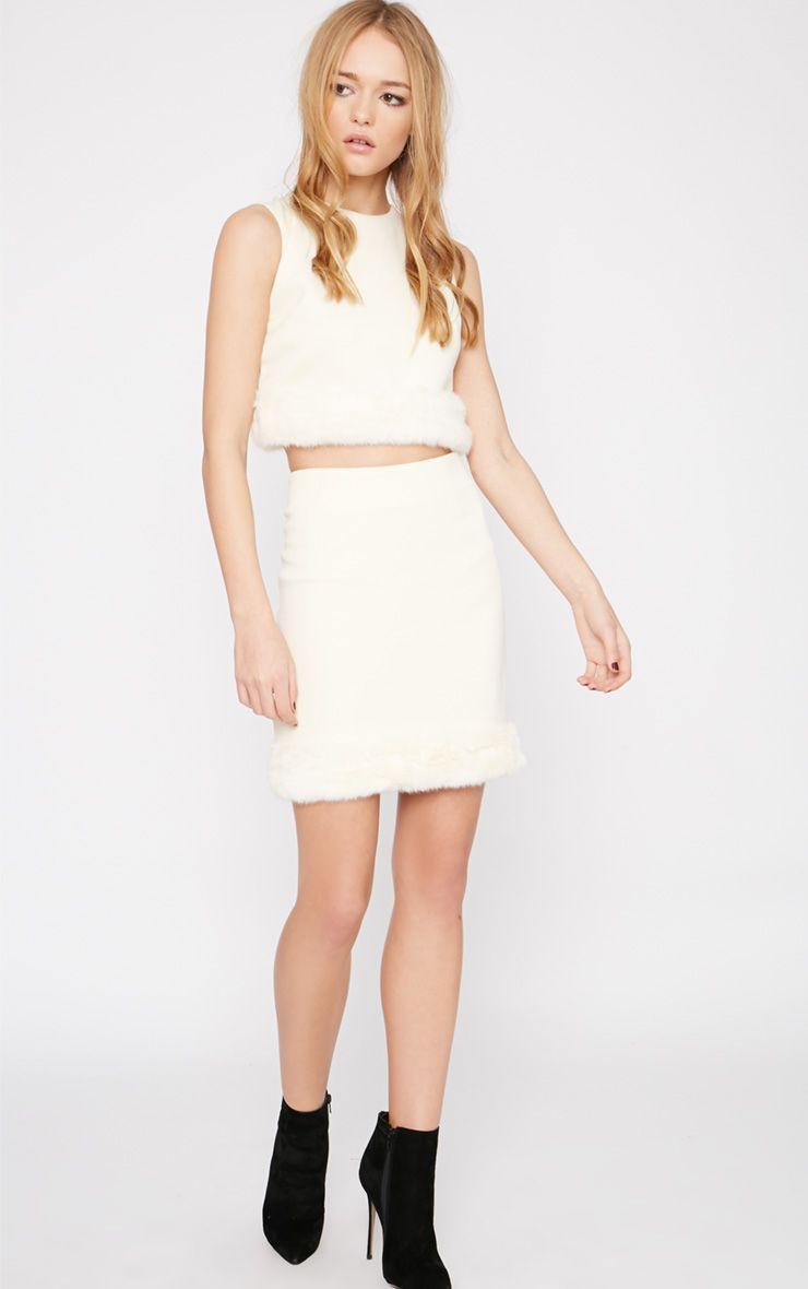 Rosella Cream Fur Trim Mini Skirt  1
