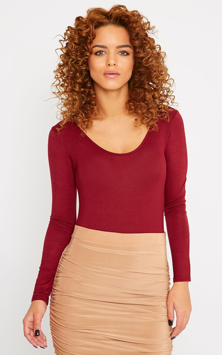 Basic Burgundy Scoop Neck Bodysuit 1
