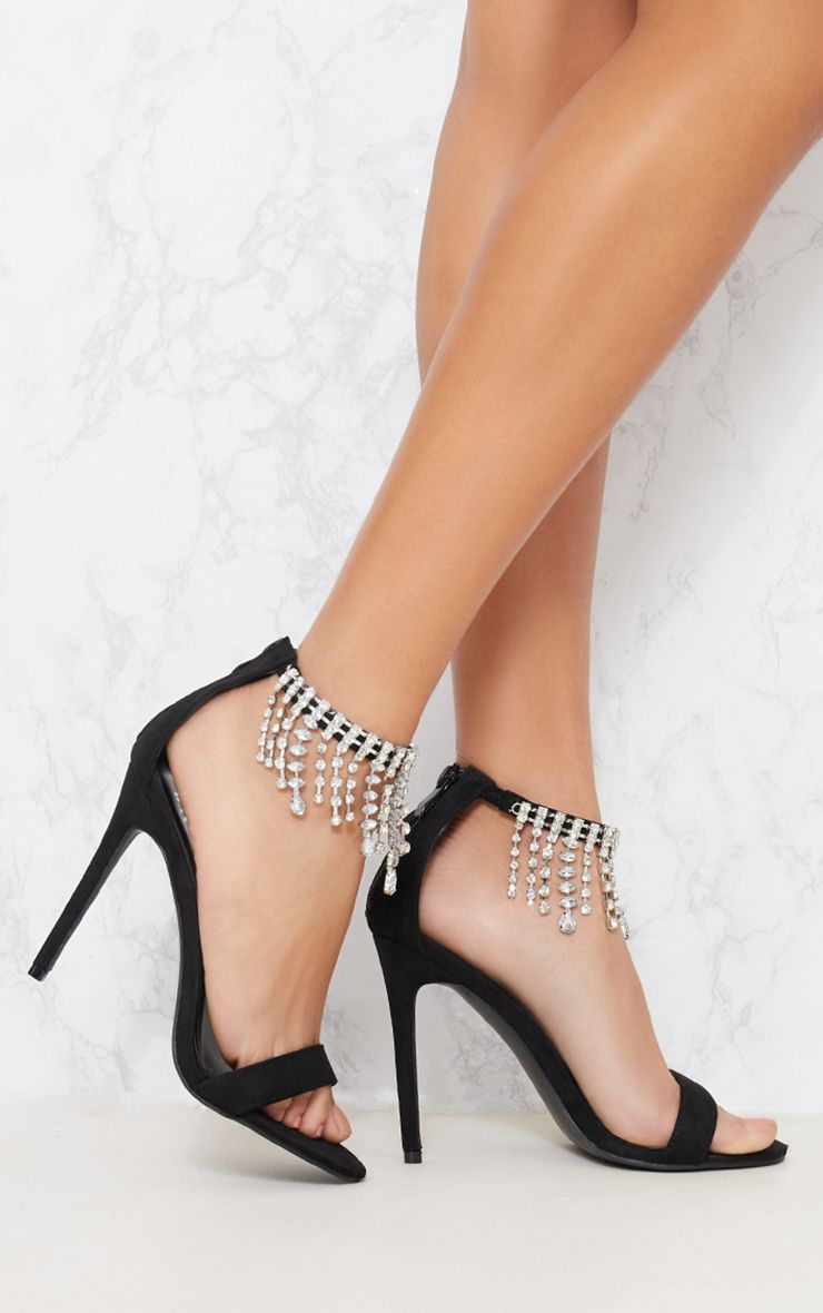 Black Diamante Cuff Heeled Sandal