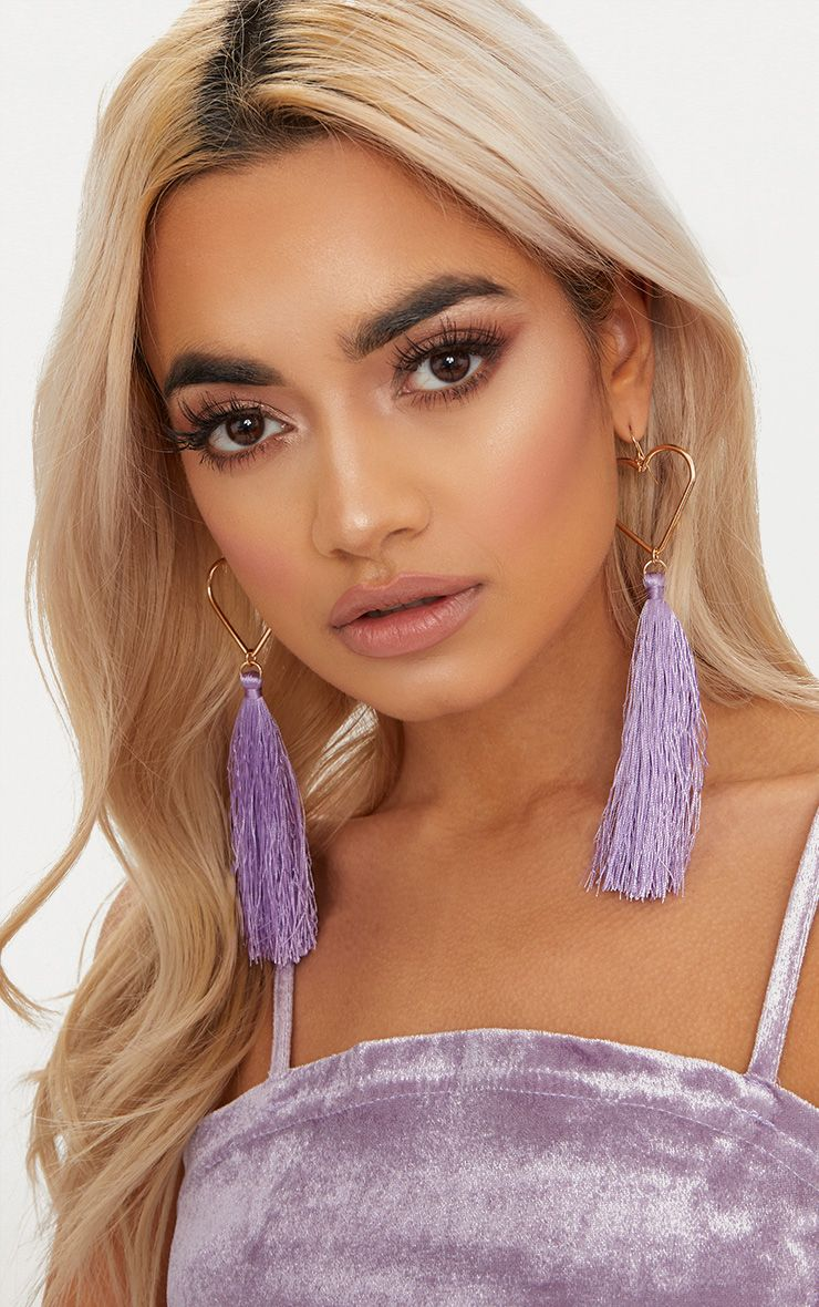 Lilac Heart Tassel Earrings