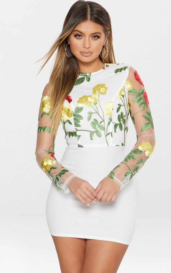 White Embroidered Lace Up Back Bodycon Dress