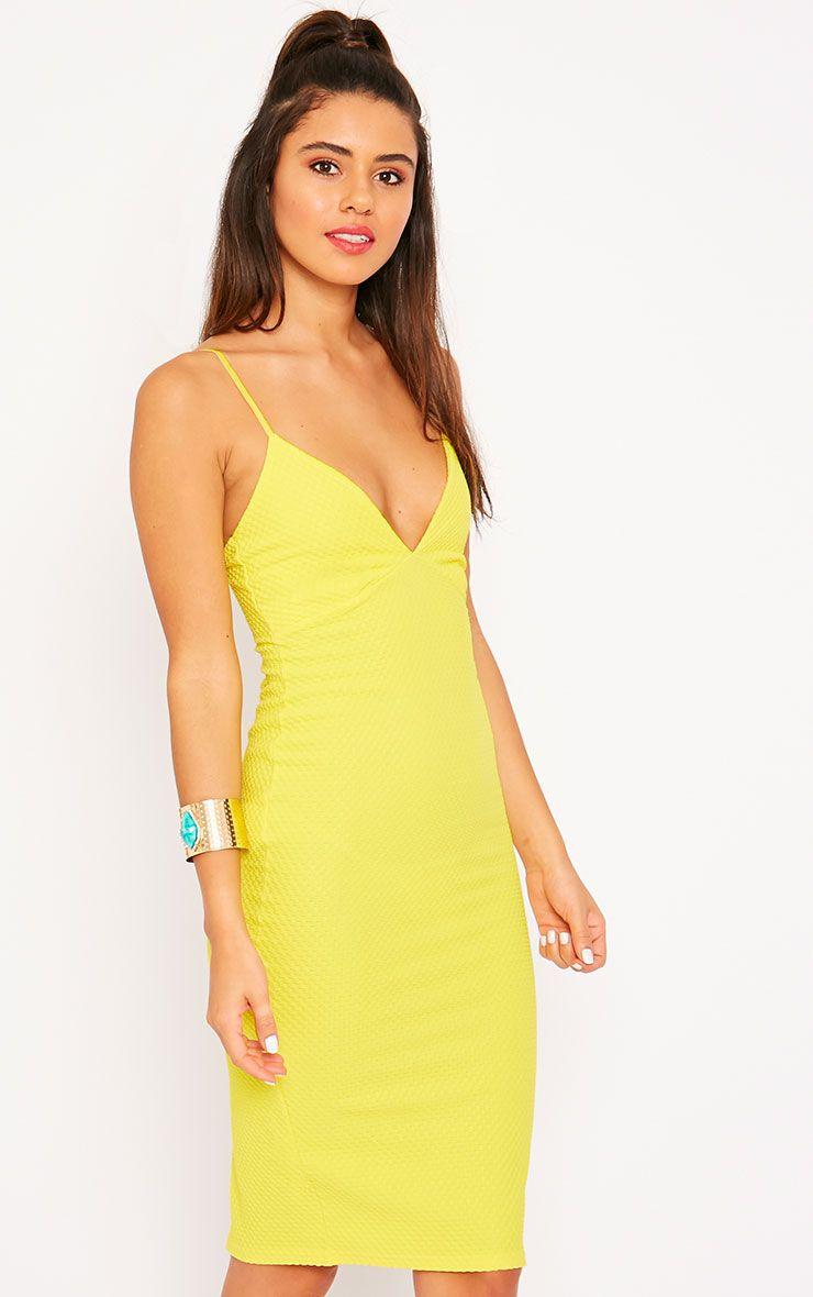 Celline Yellow Plunge Neck Textured Midi Dress 1