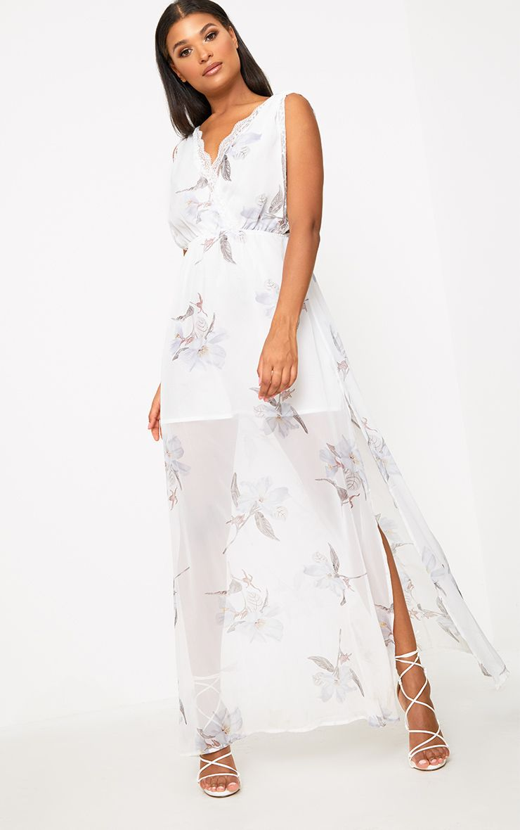 White Floral Lace Trim Maxi Dress