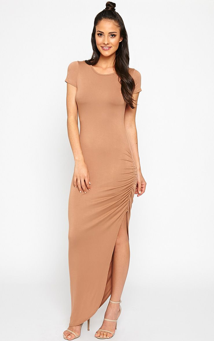Basic Camel Ruched Cap Sleeve Maxi Dress 1