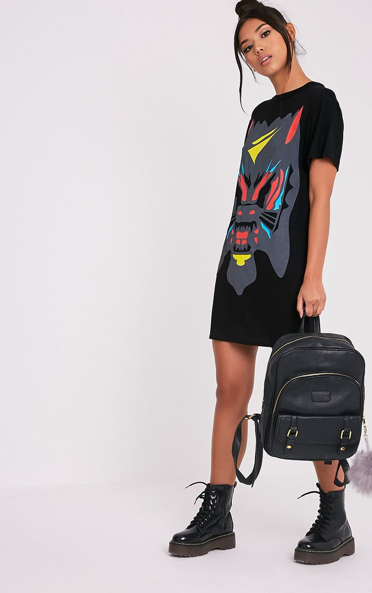 Cammia Black Abstract Animal Print T-Shirt Dress 1
