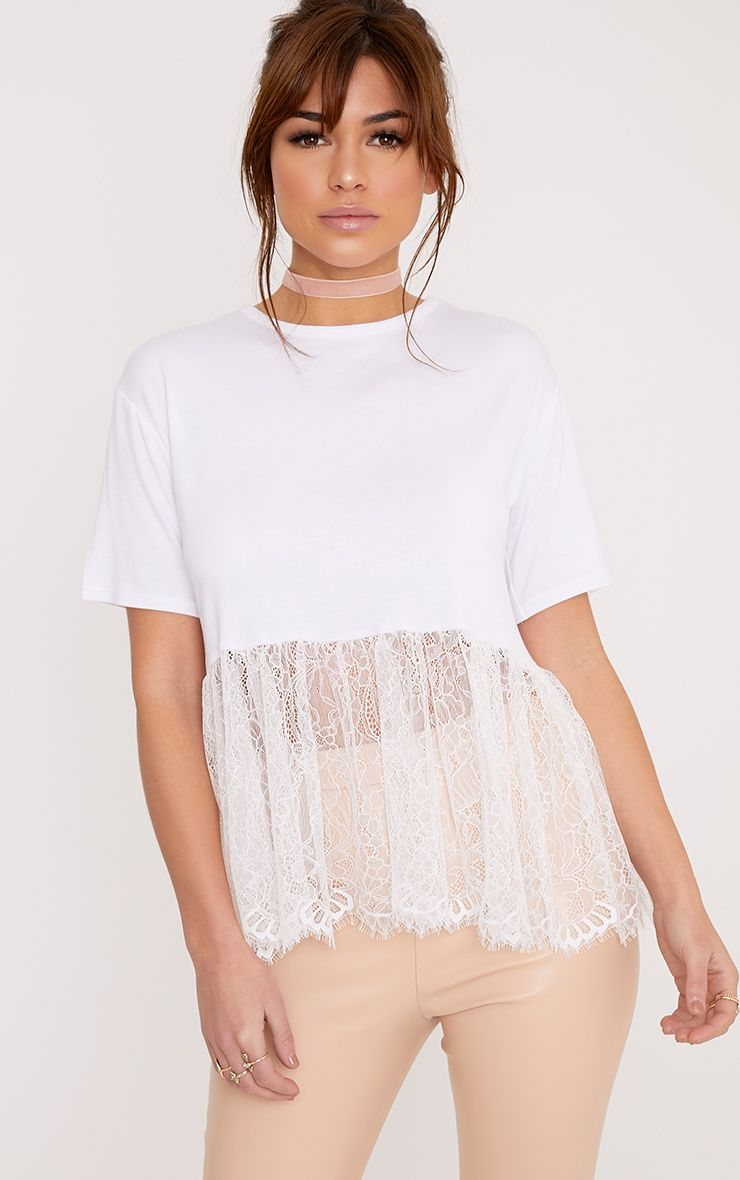 Bettina White Lace Hem Oversized T Shirt