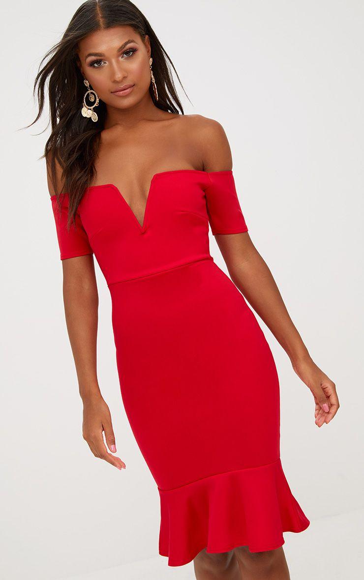 Red V Plunge Frill Midi Dress