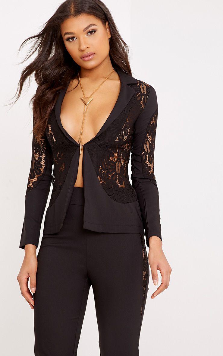 Mikaylah Black Lace Insert Detail Suit Jacket