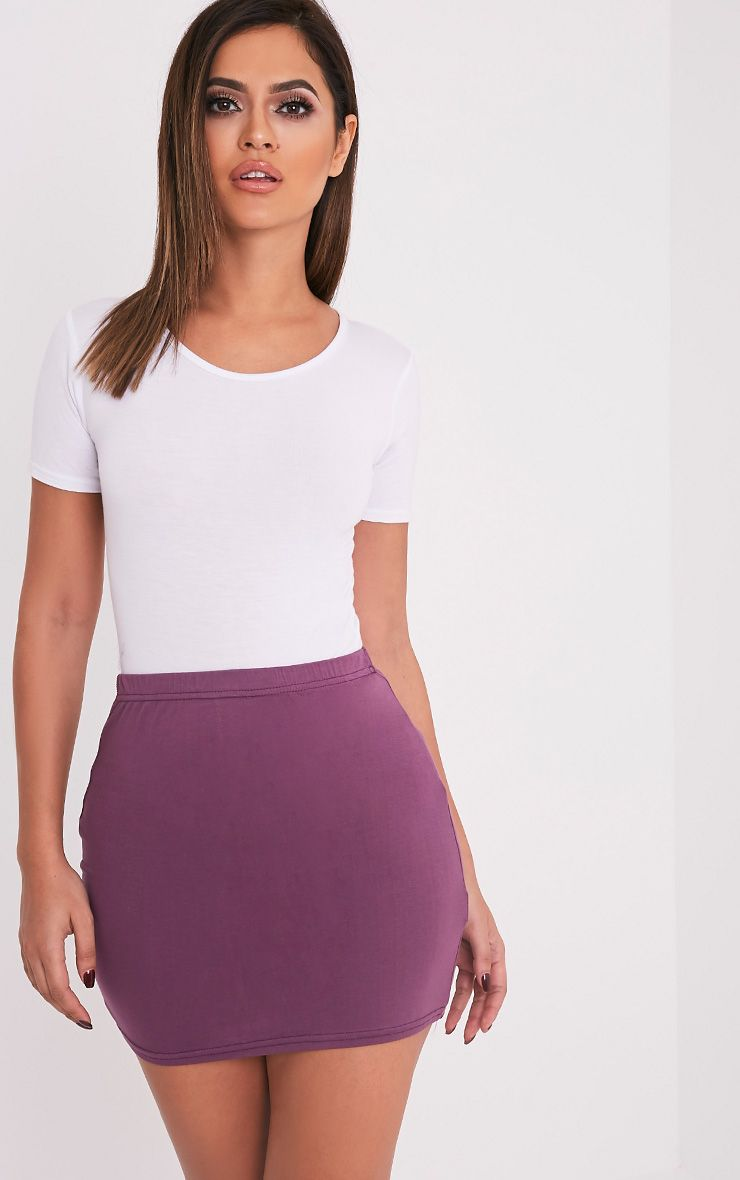 Basic Aubergine Jersey Mini Skirt 1