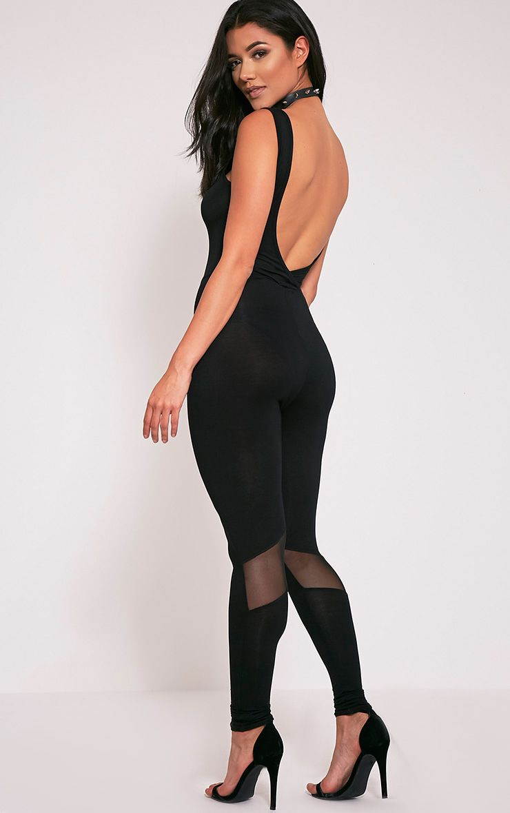 Makayla Black Mesh Insert Fitted Jumpsuit