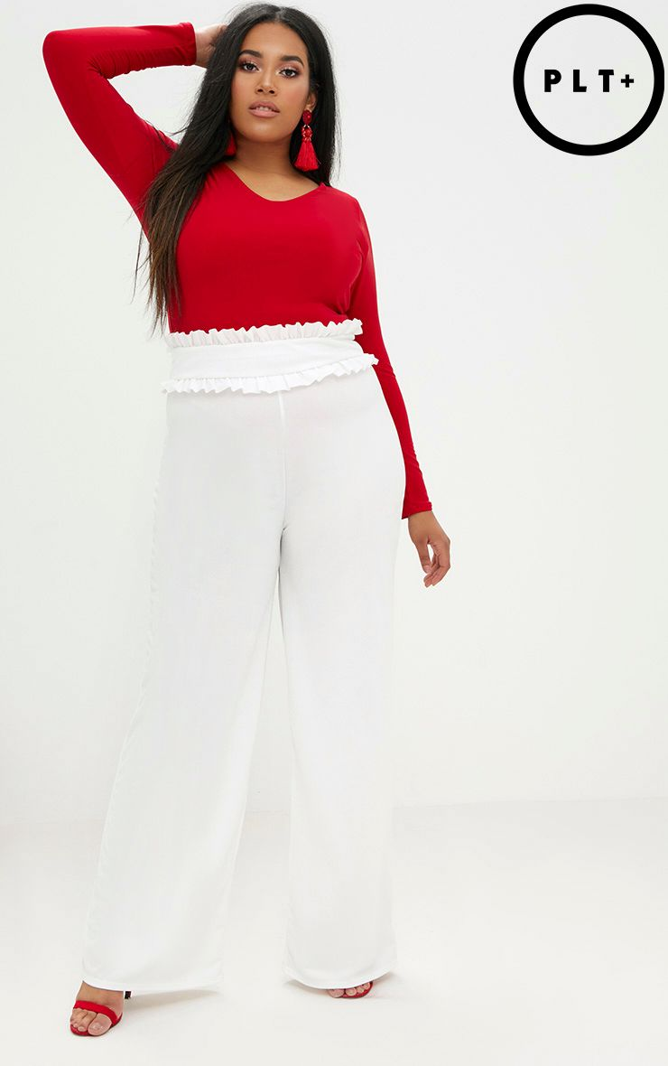 Plus Cream Frill Waist Flare Trousers