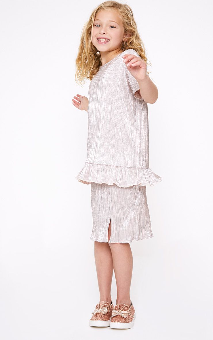 Pleated Foil Champagne Midi Skirt