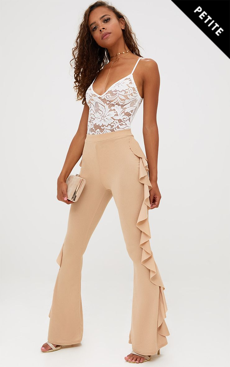 Petite Stone Ruffle Side Flared Trousers