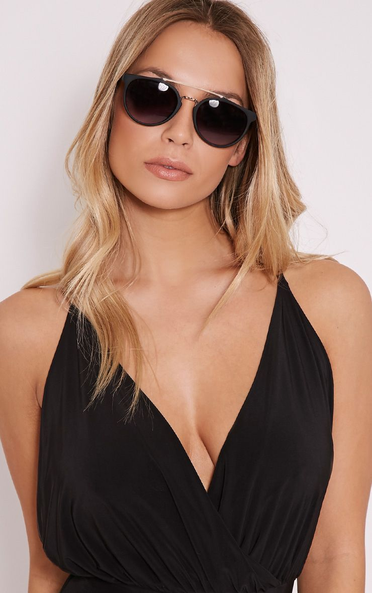 Lenny Black Thin Framed Aviator Sunglasses