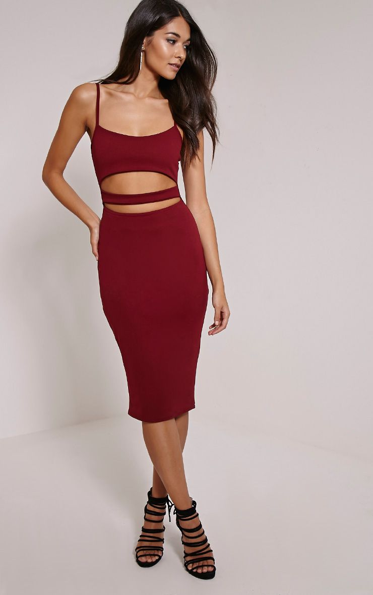 Kheelie Burgundy Cut Out Midi Dress 1