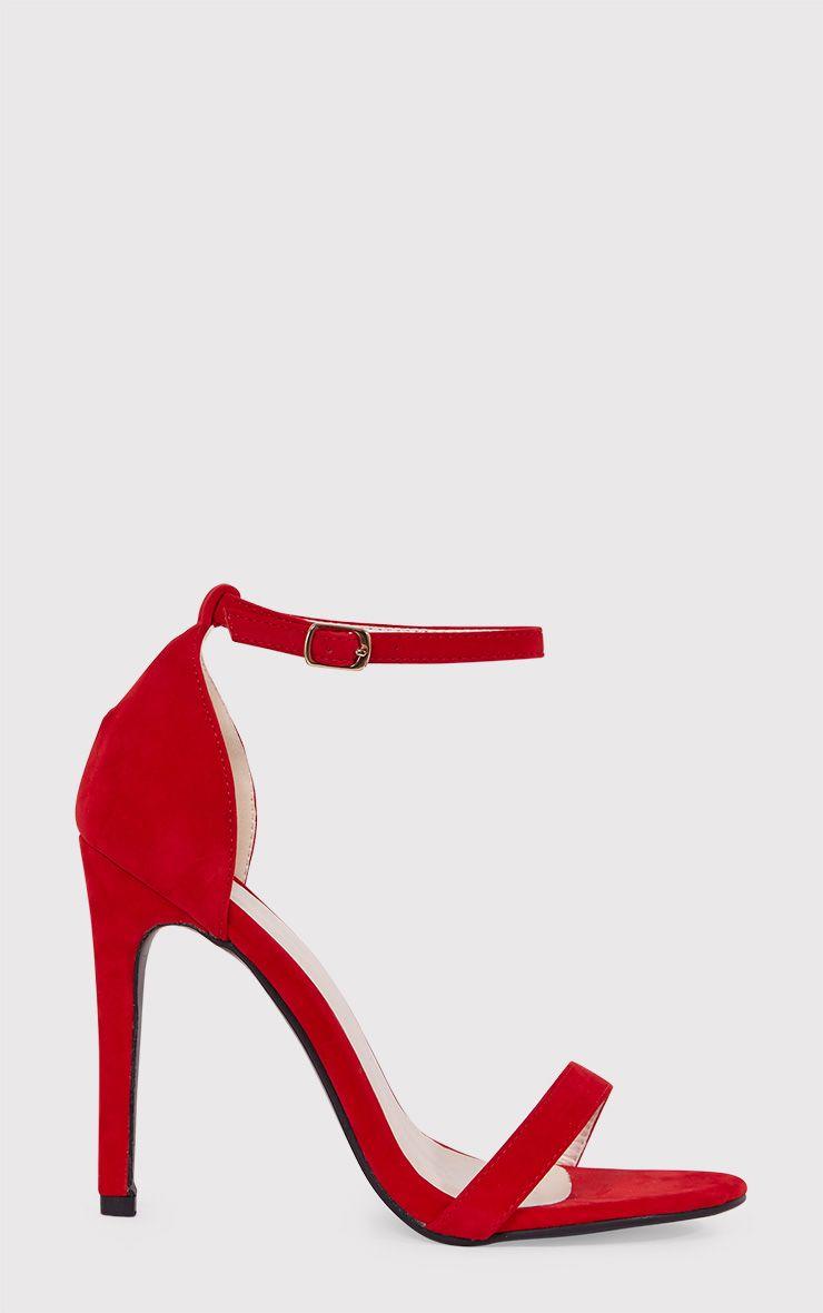 Clover Red Strap Heeled Sandals