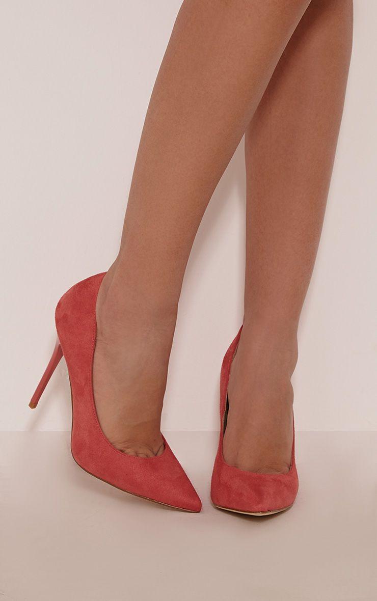 Julieta Coral Faux Suede Stiletto Court Shoe 1