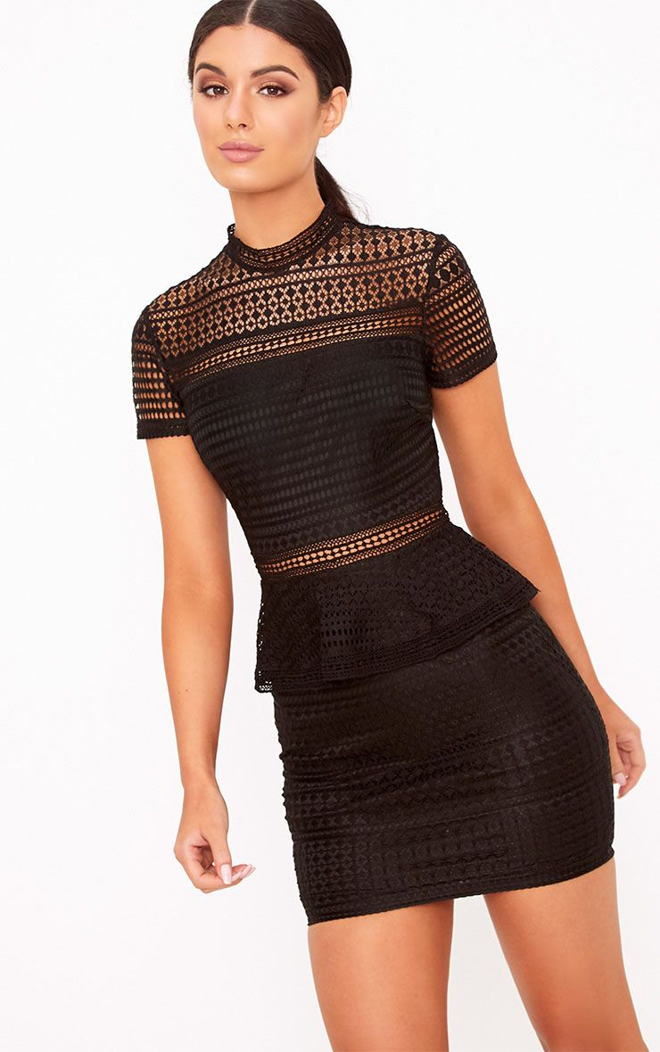 Annalisah Black Lace High Neck Bodycon Dress
