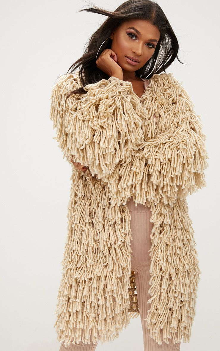 Stone Shaggy Knit Long line Cardigan 1