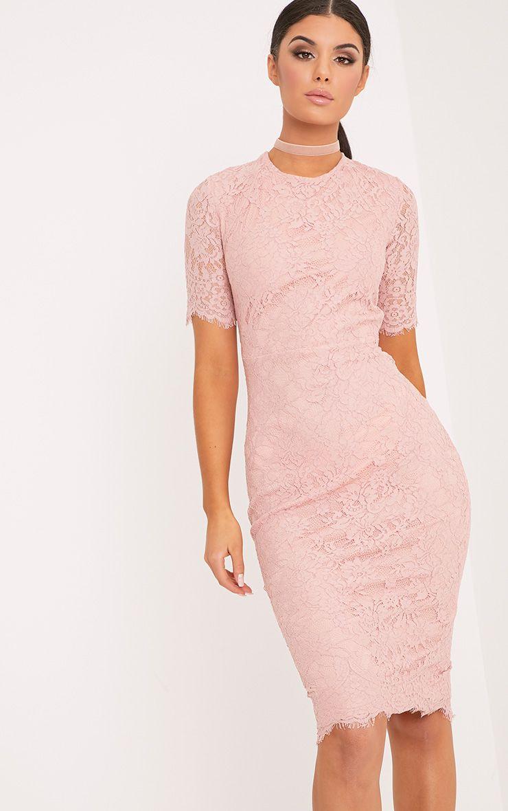 Frankie Dusty Pink Lace Tie Back Midi Dress