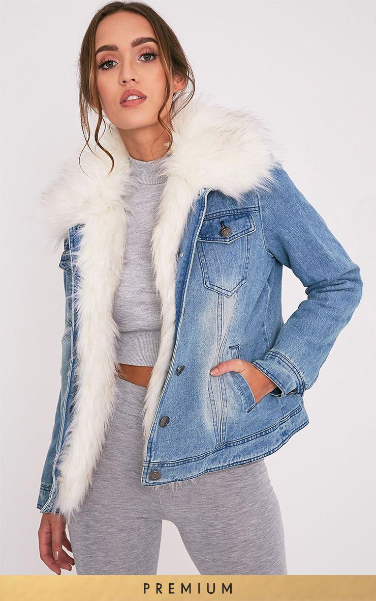 Yalena Premium veste en jean doublée en fausse fourrure
