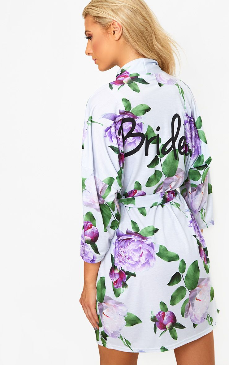 Bride Grey Floral Dressing Gown