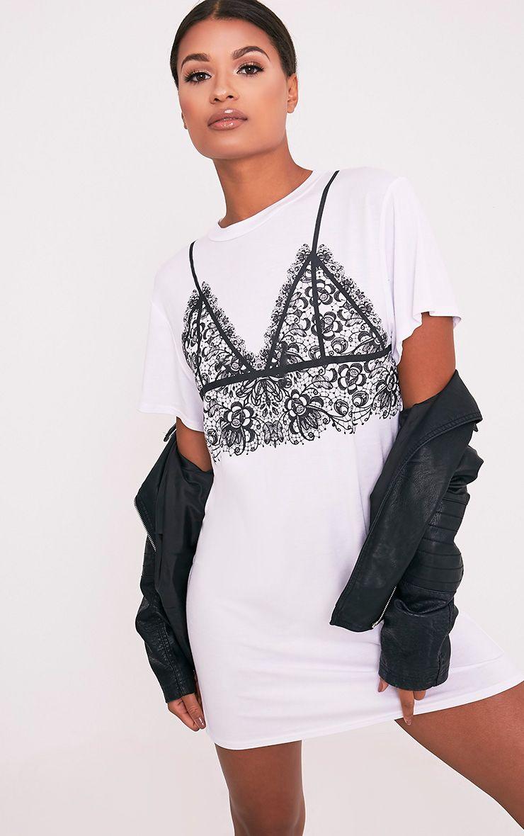 Lace Bralet Print White T-Shirt Dress