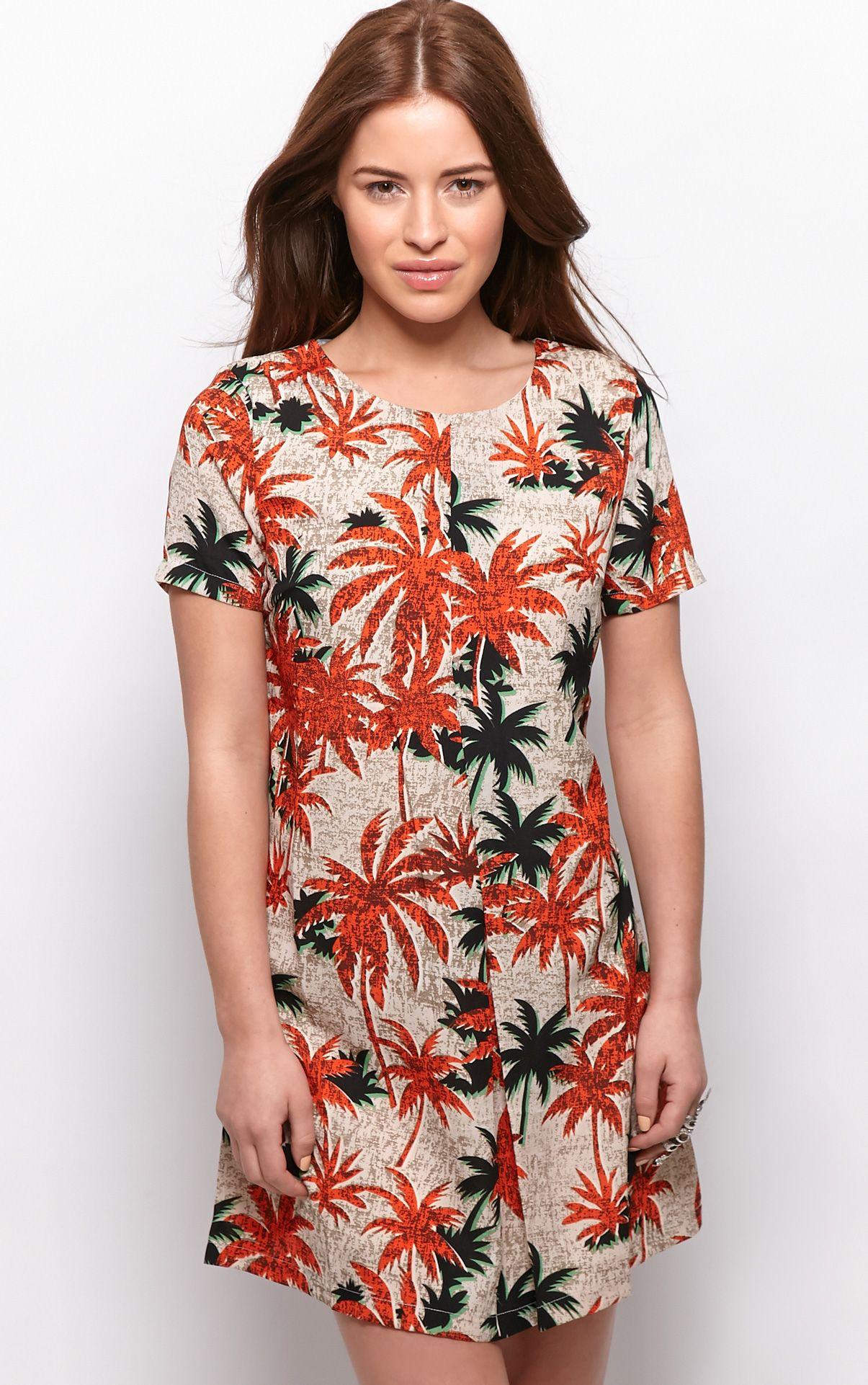 Ariana Orange Palm Tree Print Shift Dress 1