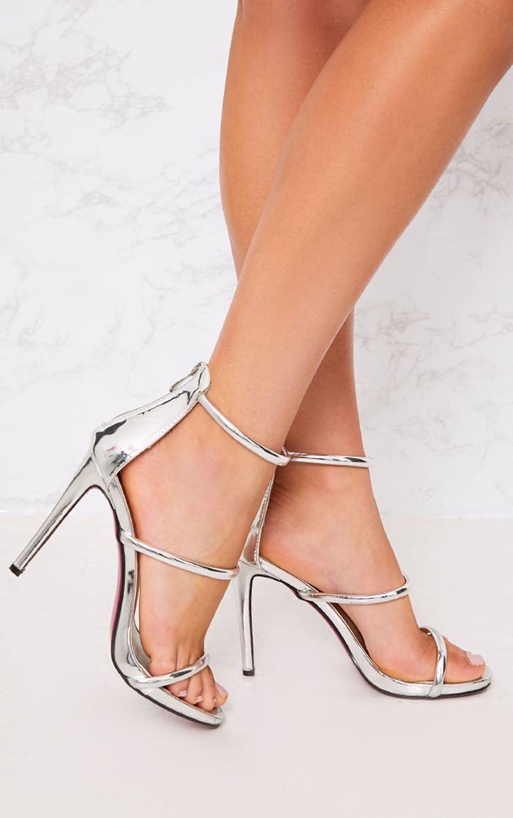 Marthea Silver Tube Strap Heeled Sandals 1