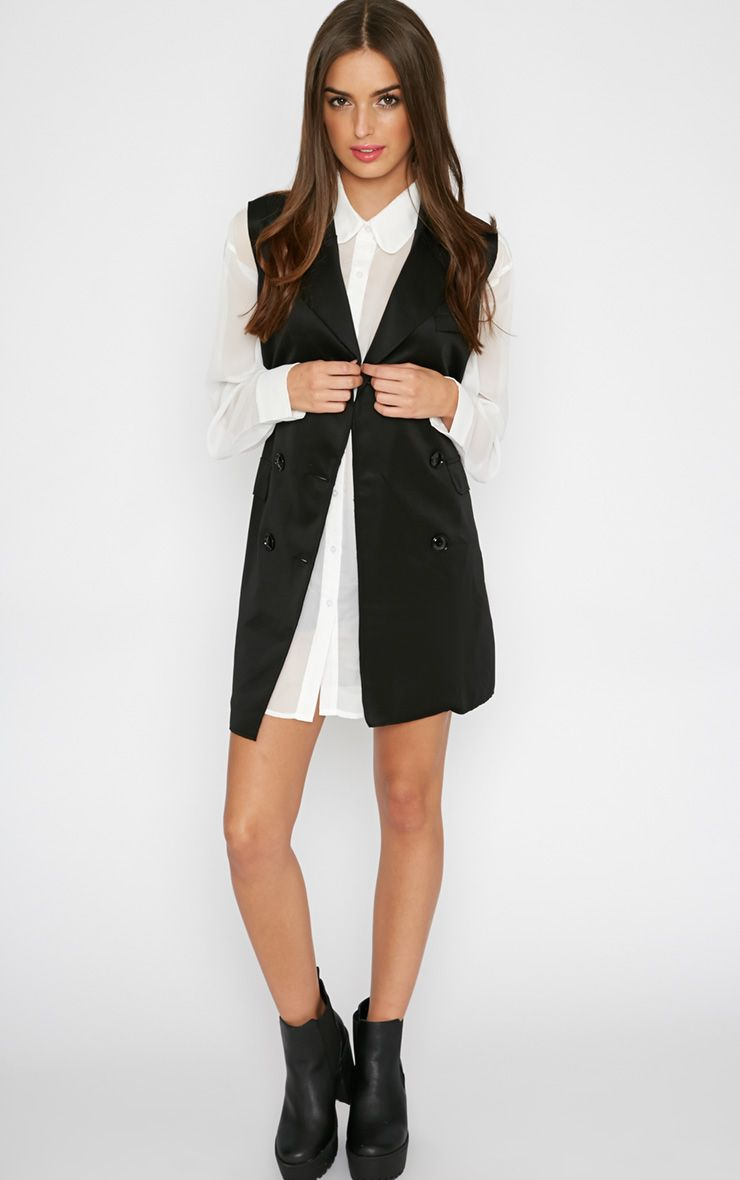 Jules Black Sleeveless Longline Blazer  1