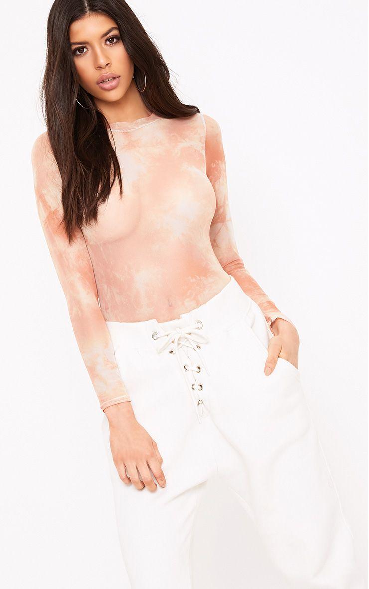 Aurban Nude Tie Dye Mesh Longsleeve Thong Bodysuit