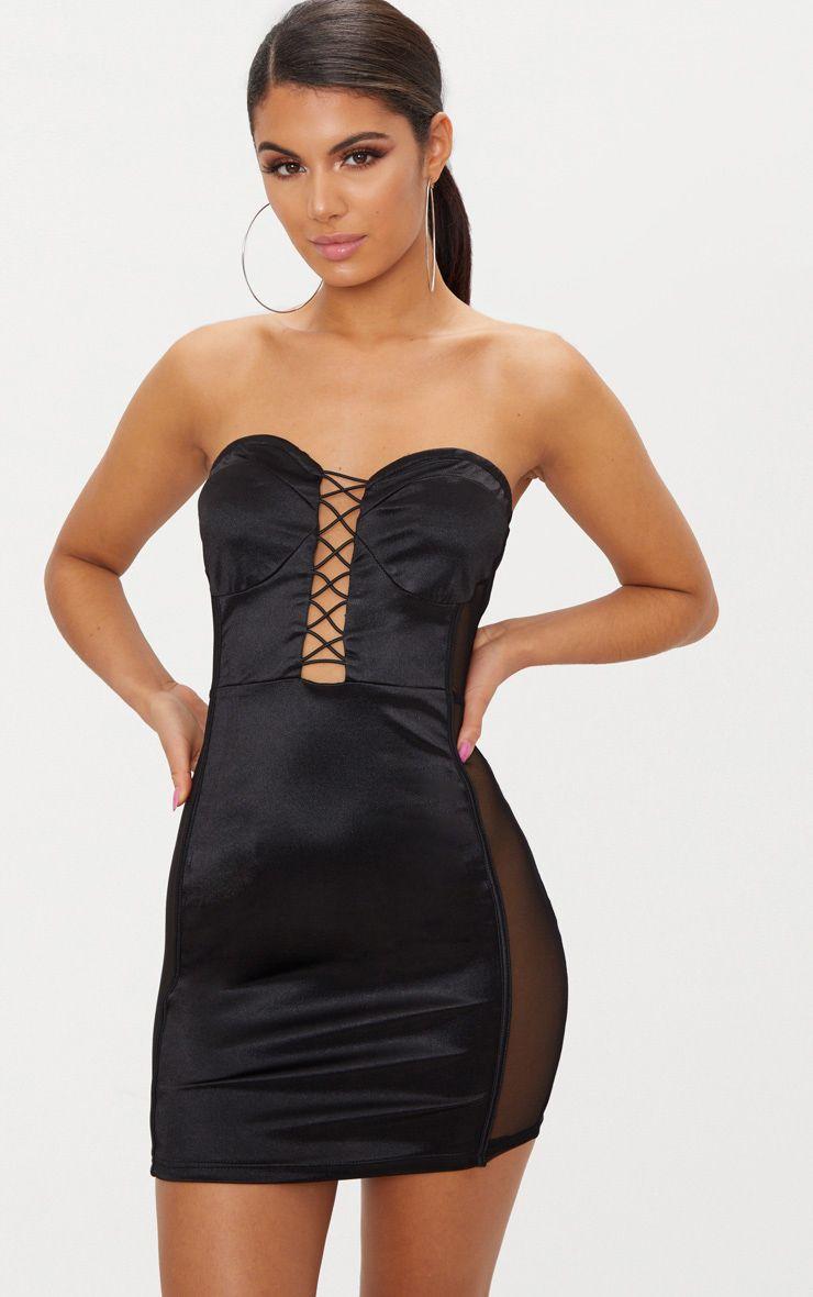 Black Bandeau Lace Up Mesh Side Satin Bodycon Dress