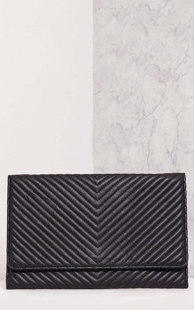 Chanile Black Textured Quilted Clutch - ONE SIZE