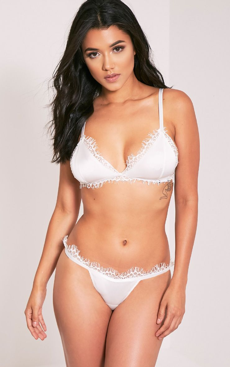 Faas White Satin and Eyelash Lace Detail Thong