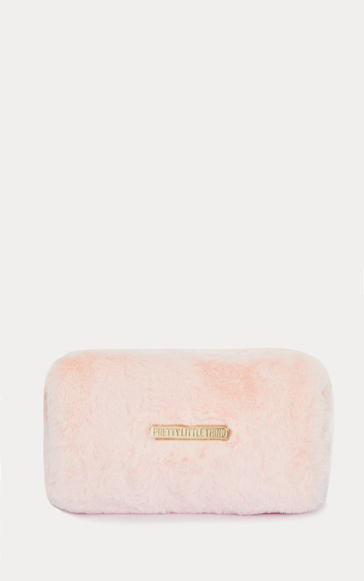 Baby Pink PrettyLittleThing Faux Fur Makeup Bag