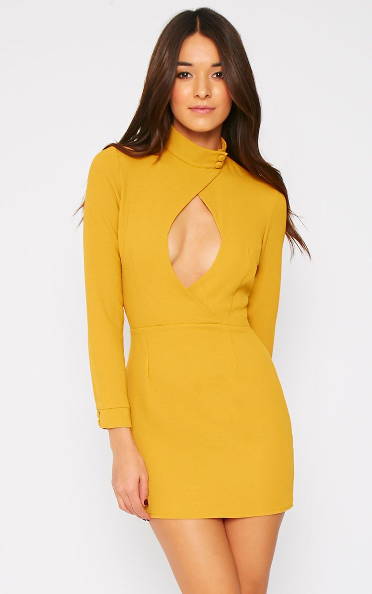 Edie Mustard Cut Out Dress 1