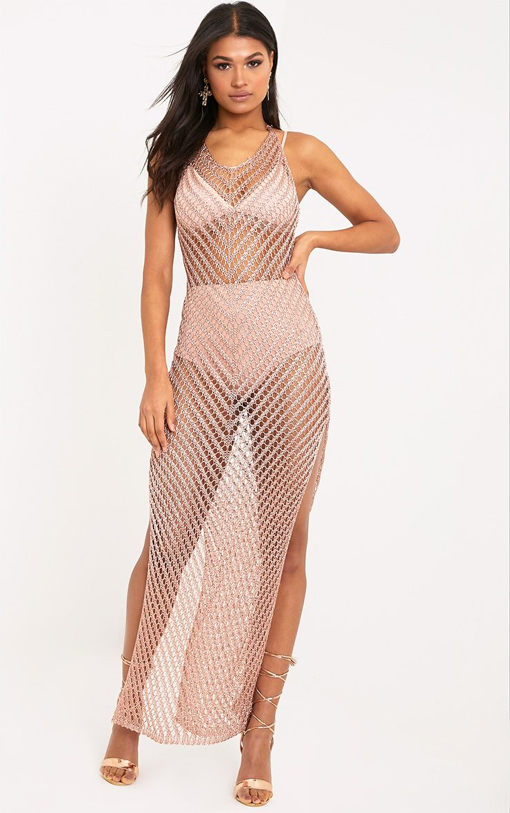 Paizlee Rose Gold Metallic Knit Halter Neck Dress