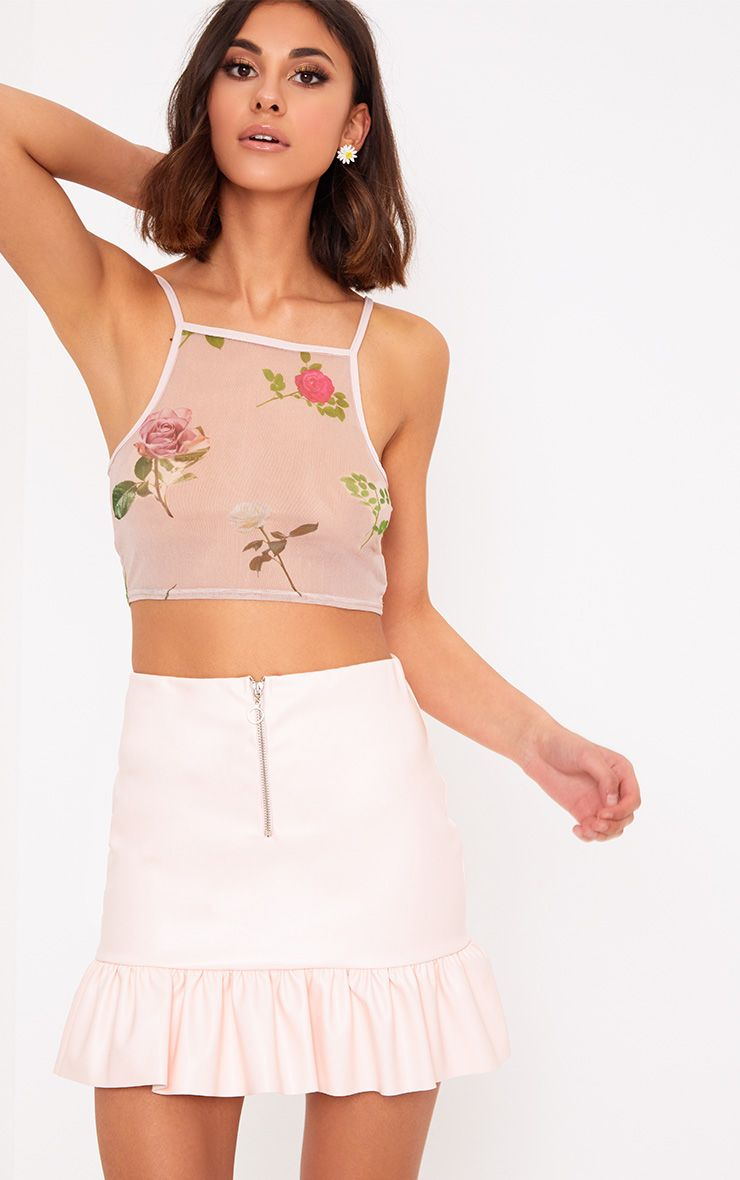 Nude Floral Mesh Crop Top