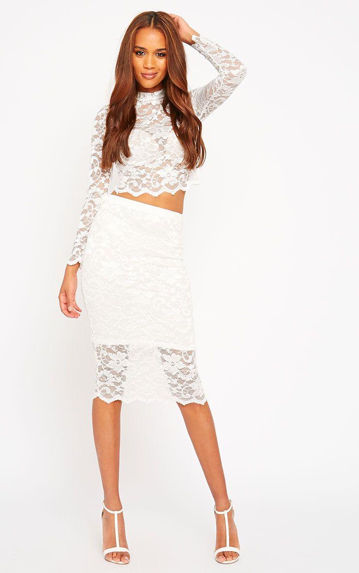 Corinna White Lace Midi Skirt 1