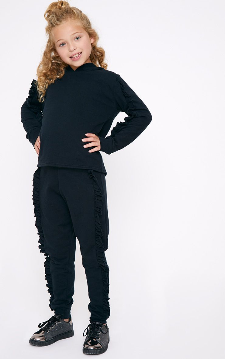 Frill Side Black Joggers