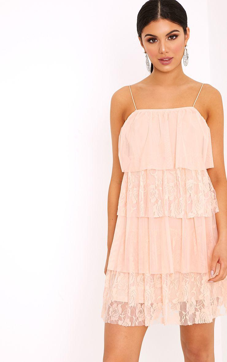 Sarsha Nude Chiffon Lace Frill Shift Dress