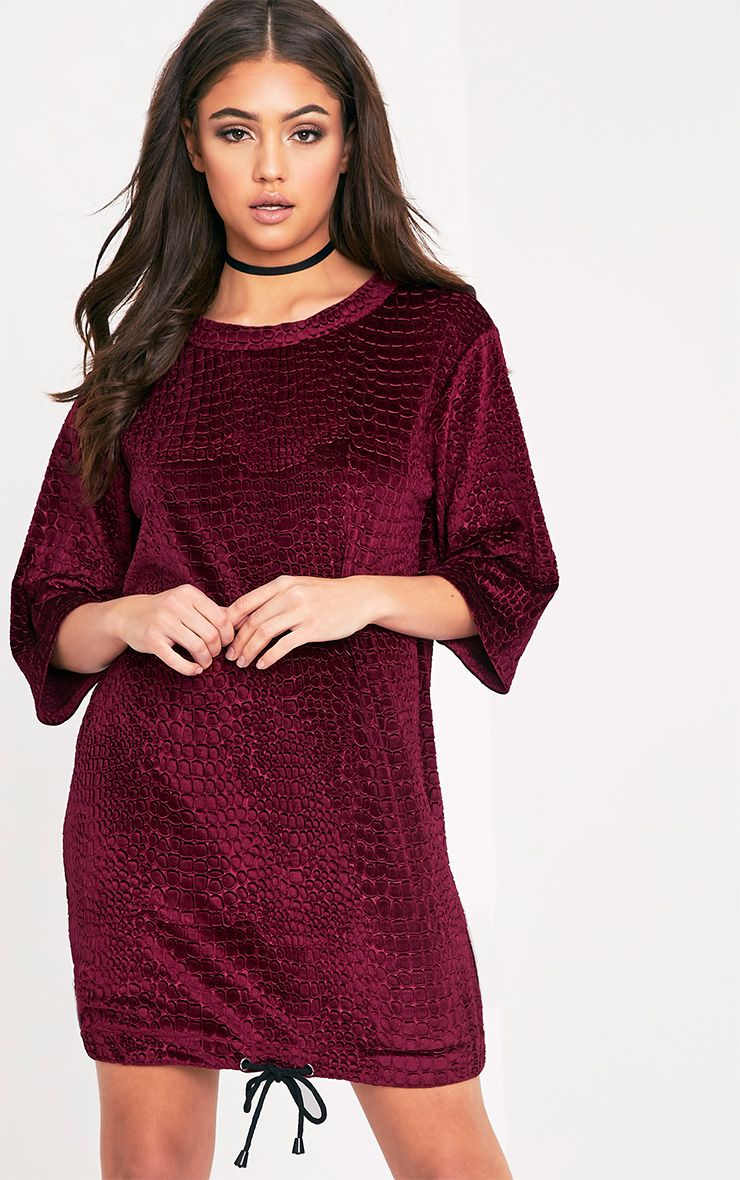 Isabelle Berry Animal Embossed Velvet Jumper Dress