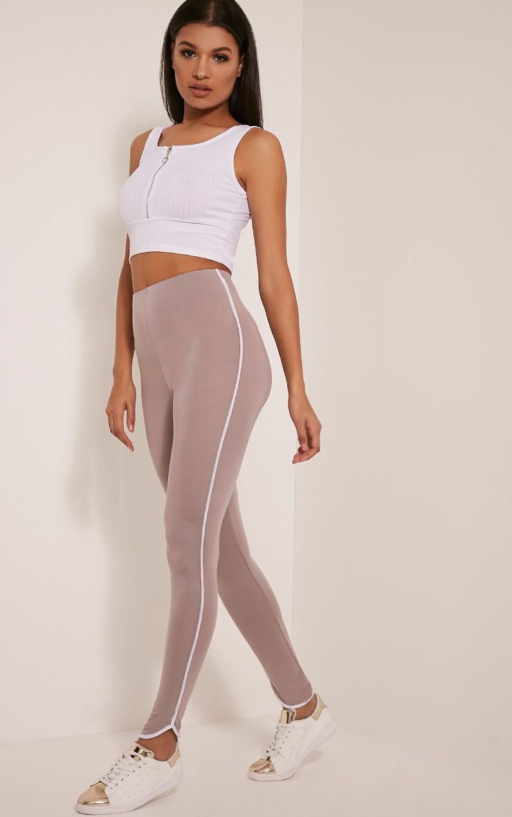 Bee Taupe Contrast Piping Leggings 1