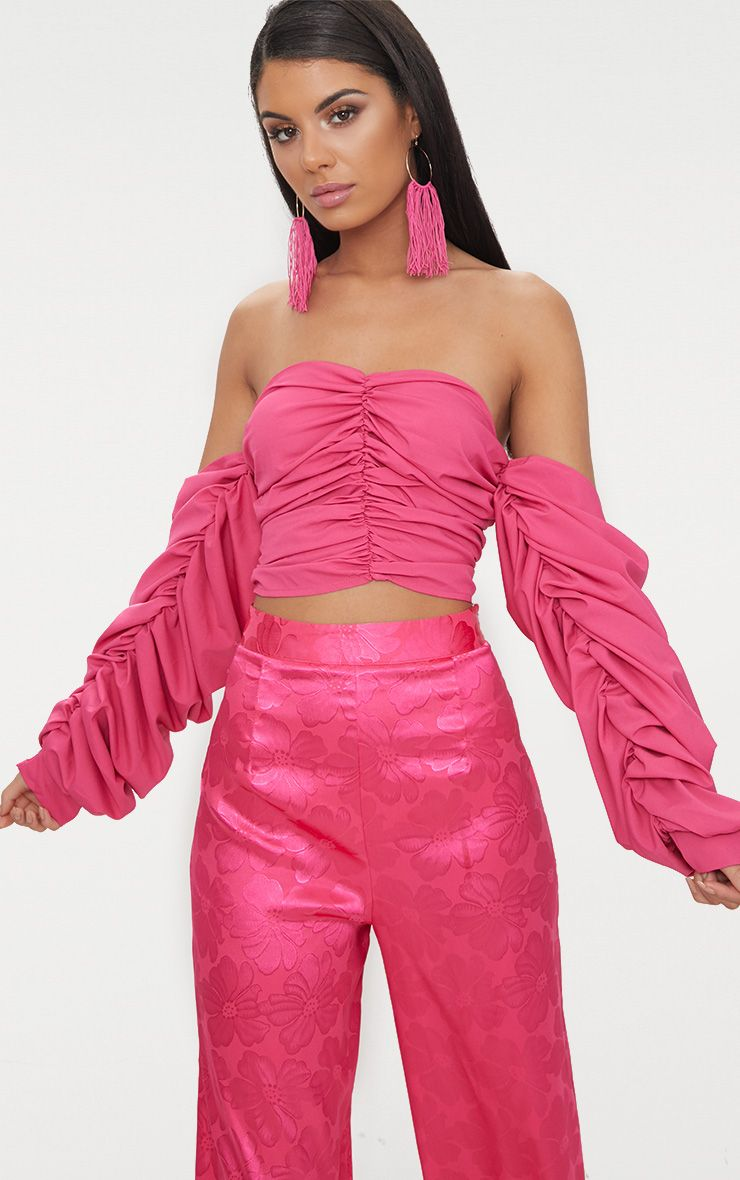 Fuschia Ruched Front Long sleeve Blouse  1