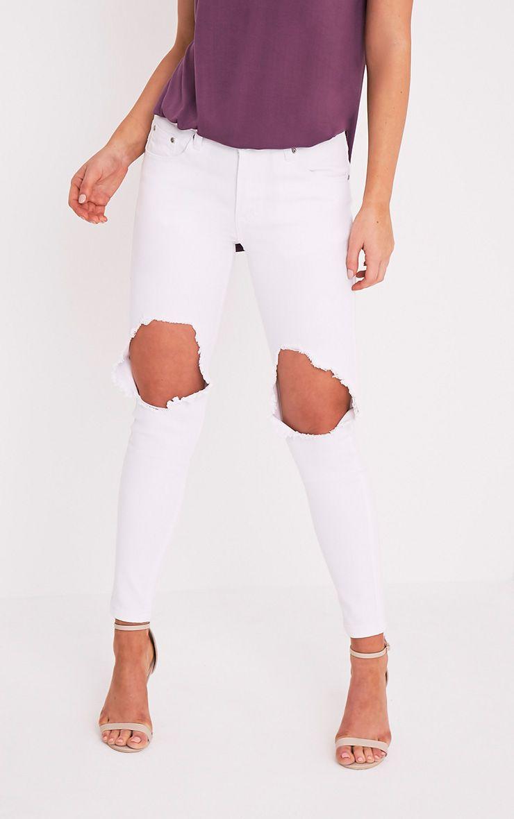 Kim White Open Knee Rip Slim Jean