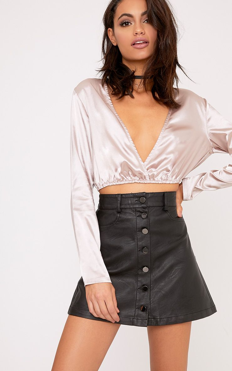 Liv Truffle Plunge Tie Back Satin Drawstring Crop Top
