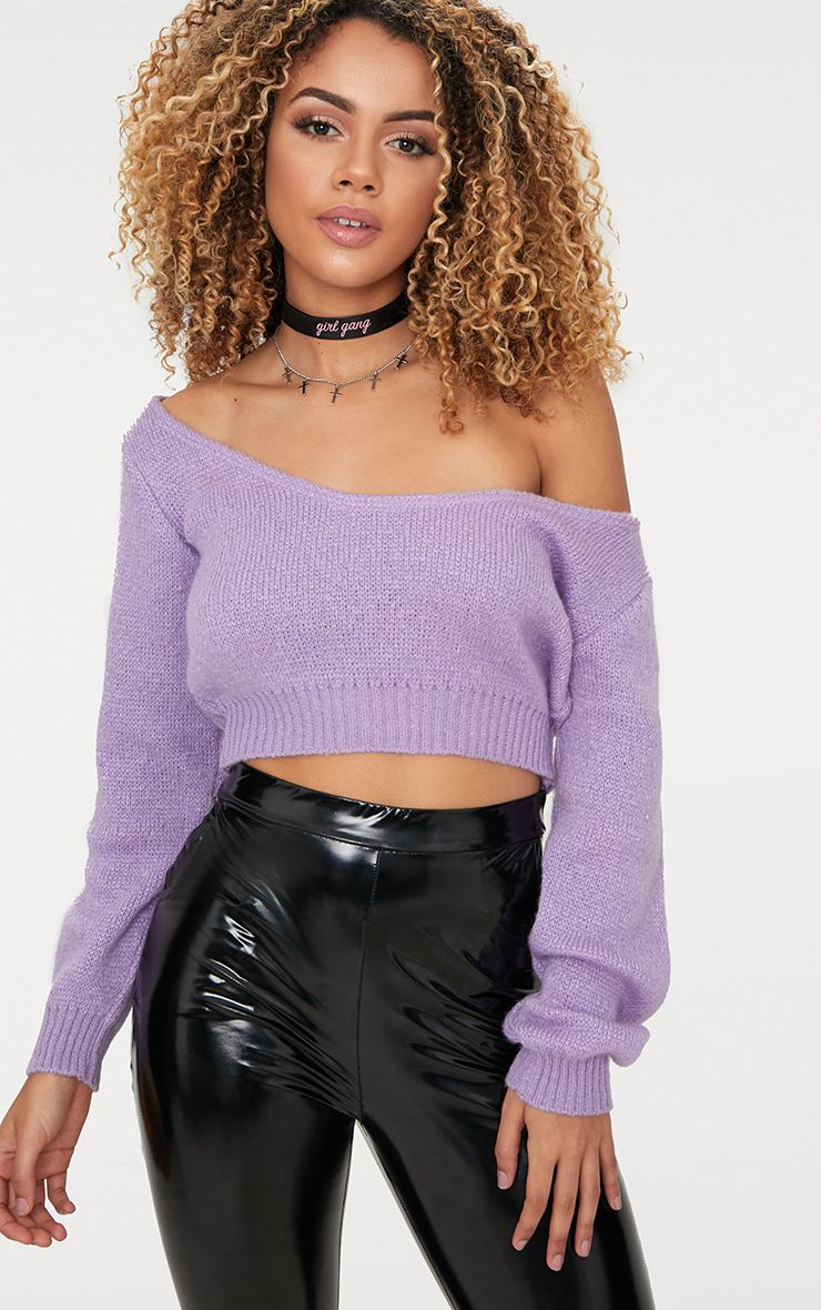 Lilac Off V Neck Shoulder Knitted Cropped Jumper